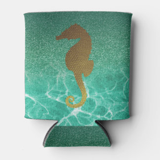 Gold Seahorse and Turquoise Glitter Can Cooler