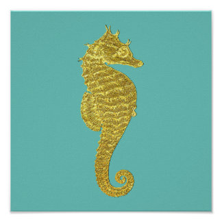 Gold Seahorse Your Color Ocean Poster