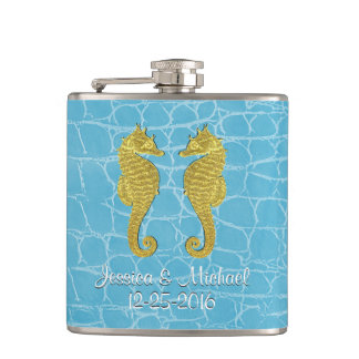 Gold Seahorses Blue Alligator Personalize Flasks