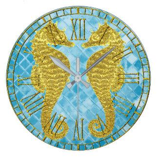 Gold Seahorses Blue Sea Glass Wallclock