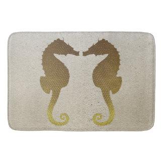 Gold Seahorses on White Sand Bath Mat Bath Mats