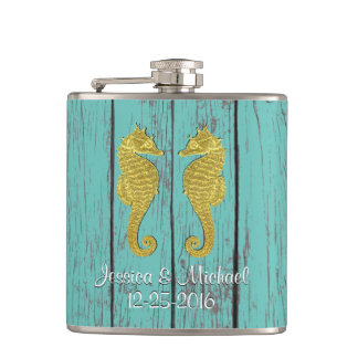 Gold Seahorses Your Color Wood Personalize Flask