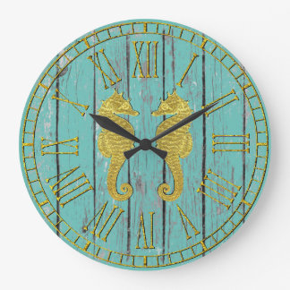 Gold Seahorses Your Colour Weathered Wood Wall Clock