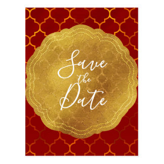 Gold Seal Foil Fiery Red Indian Save the Date Postcard