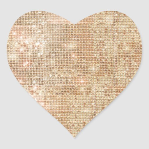 Gold Sequin Heart Sticker
