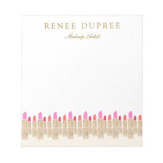 Gold Sequin Lipstick Makeup Artist Beauty Salon Notepad