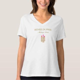 Gold Sequin Lipstick Makeup Artist Beauty Salon T-Shirt