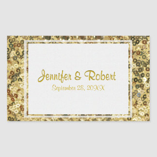 Gold Sequin Rectangular Sticker