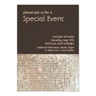 Gold Sequins 70's Retro Party Invitation