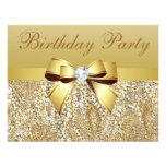 Gold Sequins, Bow & Diamond Birthday Party Custom Announcement