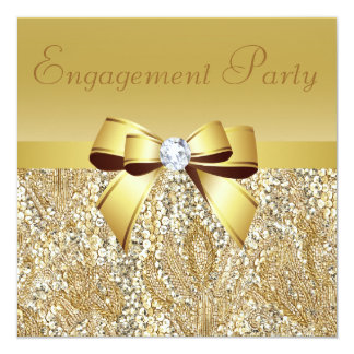 Gold Sequins, Bow & Diamond Engagement Party 13 Cm X 13 Cm Square Invitation Card