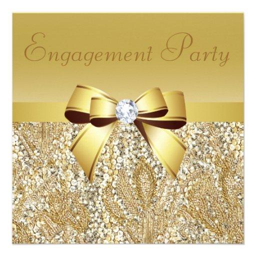 Gold Sequins, Bow & Diamond Engagement Party Announcements