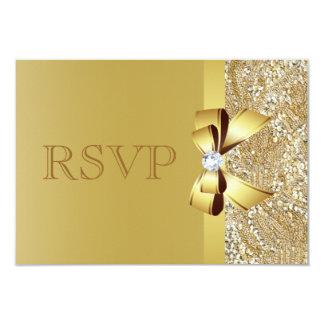 Gold Sequins, Bow & Diamond RSVP 9 Cm X 13 Cm Invitation Card