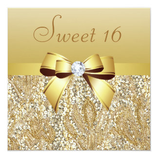 Gold Sequins, Bow & Diamond Sweet 16 Card