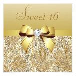 Gold Sequins, Bow & Diamond Sweet 16 13 Cm X 13 Cm Square Invitation Card