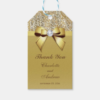 Gold Sequins Bow Diamond Wedding Gift Tags