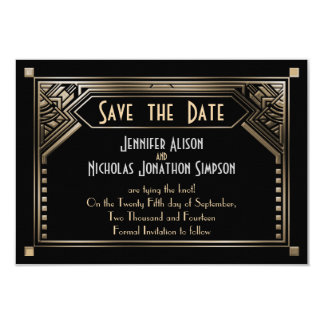 Gold Shaded Gatsby Art Deco Wedding Save the Date 9 Cm X 13 Cm Invitation Card