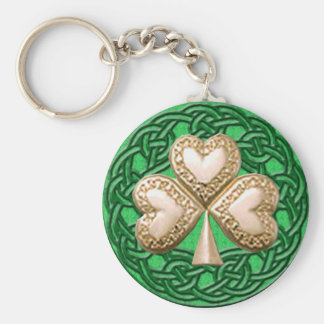 Gold Shamrock On Celtic Knots Key Chain