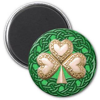 Gold Shamrock On Celtic Knots Magnet