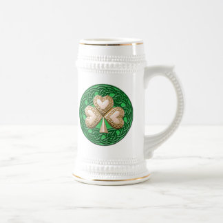 Gold Shamrock On Celtic Knots Mug