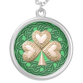 Gold Shamrock On Celtic Knots Necklace