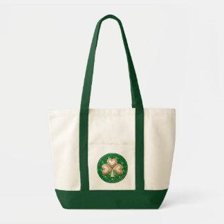 Gold Shamrock On Celtic Knots Tote Bag