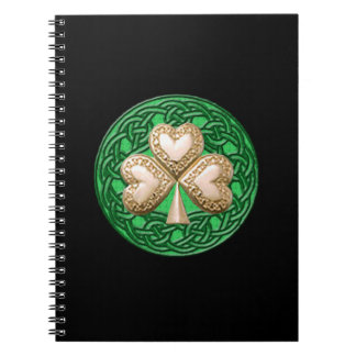 Gold Shamrock Spiral Notebook