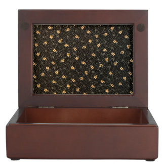 Gold Shamrocks on Black  Wooden Keepsake Box