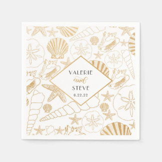 Gold Shell wedding or bridal shower decor Paper Napkin