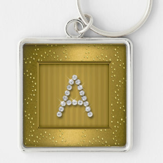 Gold Shimmer and Sparkle with Monogram Silver-Colored Square Key Ring