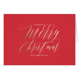 Gold Shimmer Merry Christmas Greeting Card