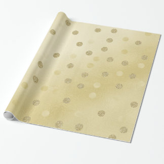 Gold Shimmer with Glitter Circles Wrapping Paper