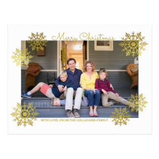 Gold Shimmering Chic Snowflake Holiday Photo Postcard