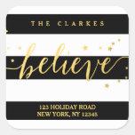 Gold Shine Believe | Holiday Address Label Square Sticker