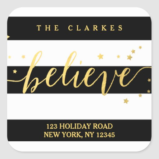 Gold Shine Believe | Holiday Address Label Square Stickers