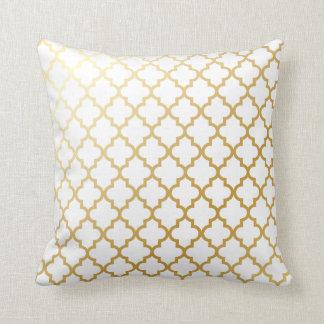 Gold Shiny Metallic Quatrefoil Pattern Throw Pillow