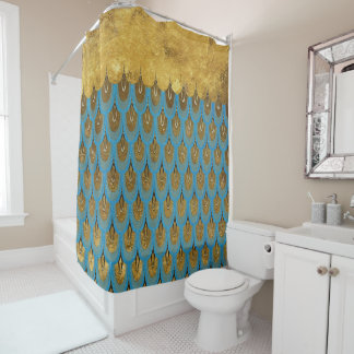 Gold Shiny Princess Mermaid Glitter Scales Shower Curtain