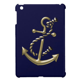 Gold Ship's Anchor Nautical Maritime Themed iPad Mini Case