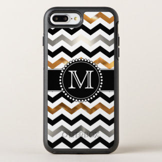 Gold, Silver, Black Chevron, Tough, Monogrammed OtterBox Symmetry iPhone 8 Plus/7 Plus Case