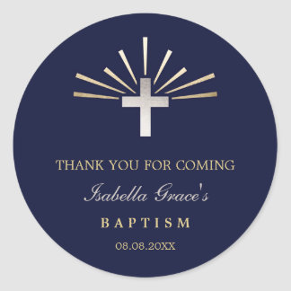 Gold Silver & Blue | Baptism Thank You Round Sticker