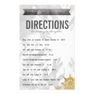 Gold & Silver Bride & Groom Snowflake Directions Stationery