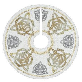 Gold & Silver Celtic Knots & Tri-Quatras on Damask Brushed Polyester Tree Skirt