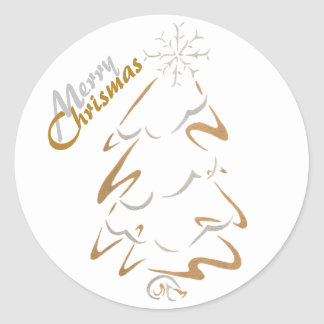 Gold & Silver Chrismas Tree Classic Round Sticker