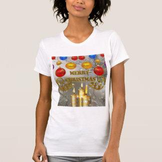 Gold Silver Christmas Candles Colorful Bulbs Shirt