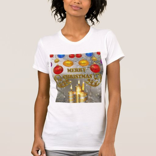 Gold & Silver Christmas Candles & Colorful Bulbs Shirt