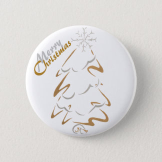 Gold & Silver Christmas Tree 6 Cm Round Badge
