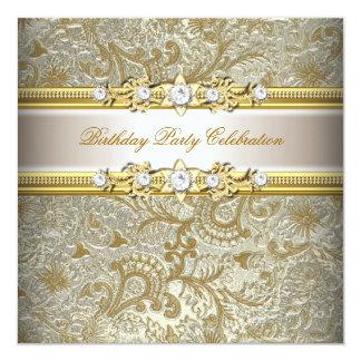 Gold Silver Cream Embossed Look Elegant Party 13 Cm X 13 Cm Square Invitation Card