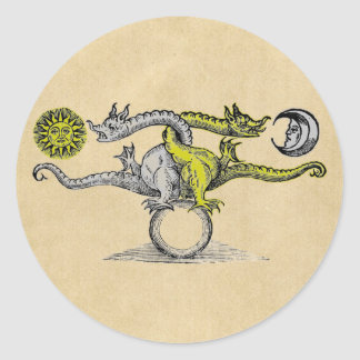Gold & Silver Dragons Classic Round Sticker