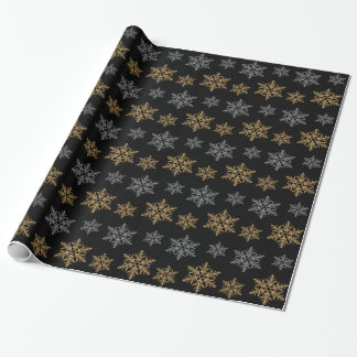 Gold Silver Faux Glitter Snowflakes Wrapping Paper