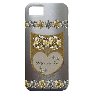 Gold Silver Faux Rhinestone Bling Owl Personalized iPhone 5 Cases